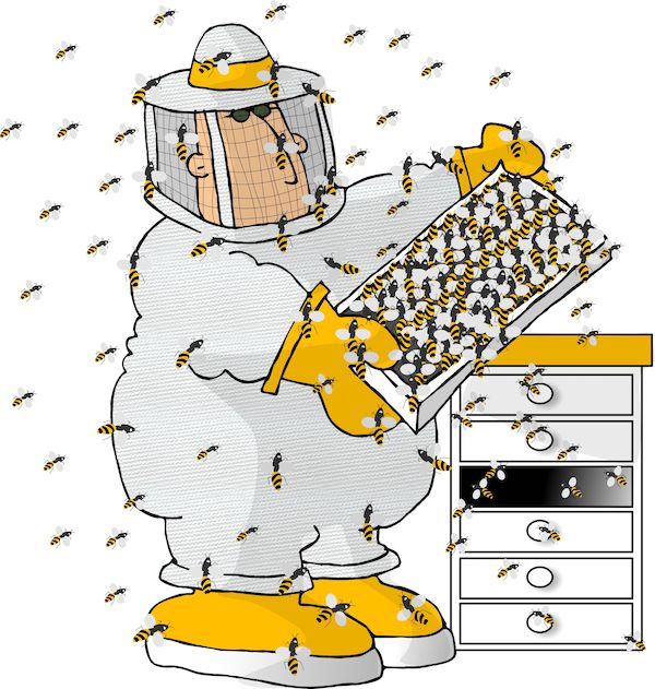 (cartoon) bee keeper with bees swarming around him